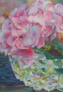 Pink Hydrangea in Cut Glass Bowl 2014