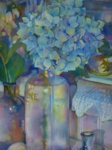 Sweet on old bottles and hydrangeas 22 x 30 c2014