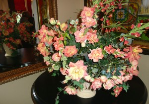 Beautiful flowers add to the rich ambience of Annette Young's Pre-Release party